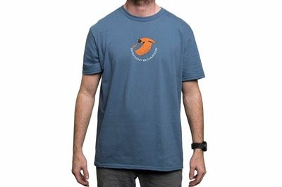 blue t shirt with orange logo